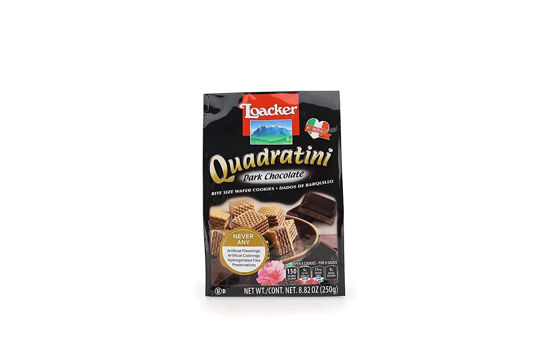LOACKER Quadratini Dark Chocolate Wafer Cookies 8.82 Oz