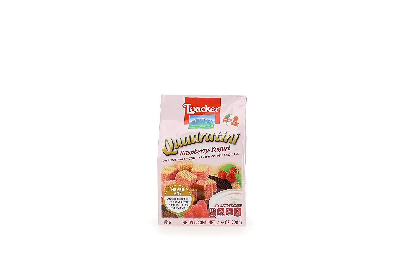LOACKER Quadratini Raspberry Yogurt Wafer Cookies 7.76 Oz