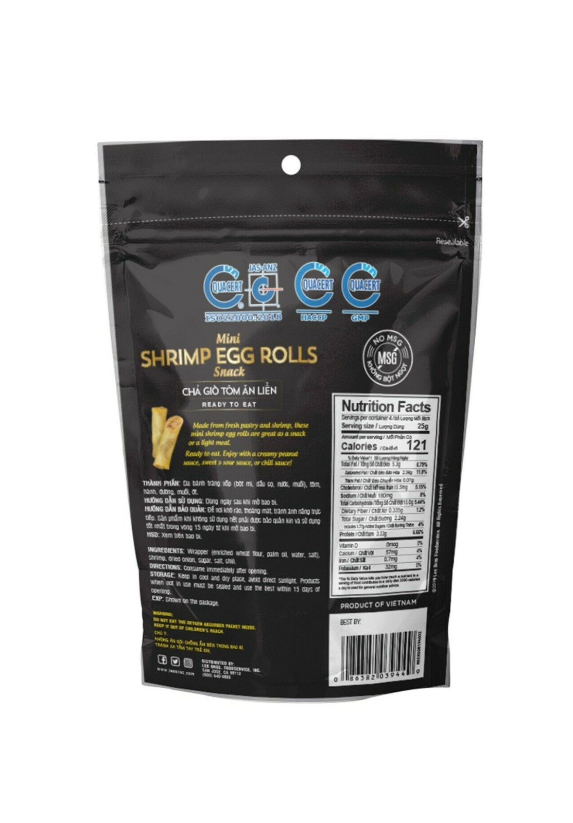 SAIGON GOURMET Mini Shrimp Egg Rolls Snack / Cha Gio Tom An Lien 4 OZ