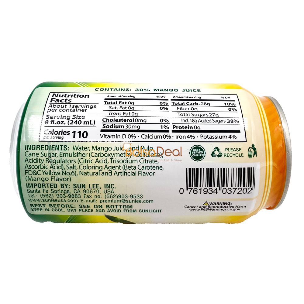 SUNLEE Mango Juice Drink With Pulp 11 FL Oz
