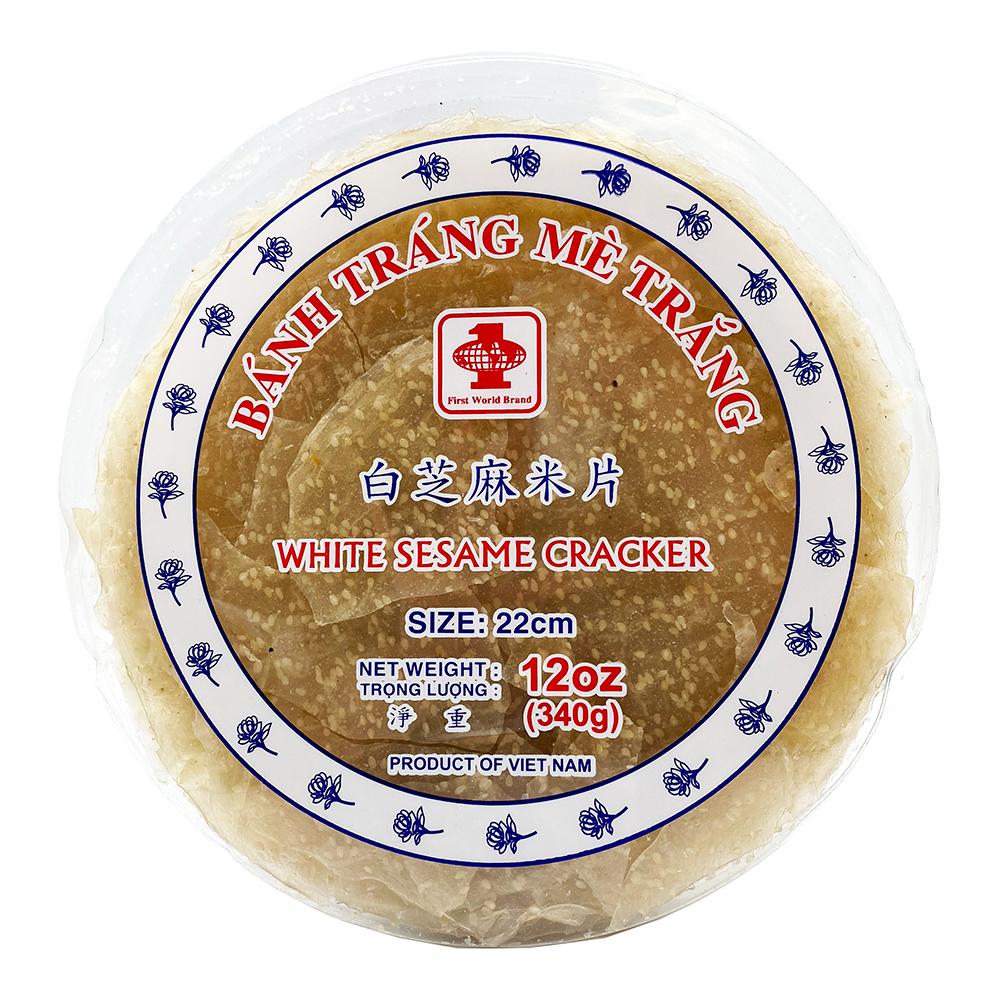 FIRST WORLD White Sesame Cracker / Banh Trang Me Trang 12 OZ