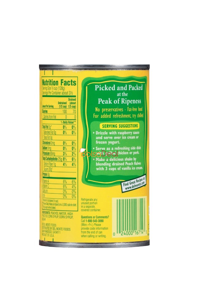 DEL MONTE Yellow Cling Peaches In Heavy Syrup 15.25 Oz
