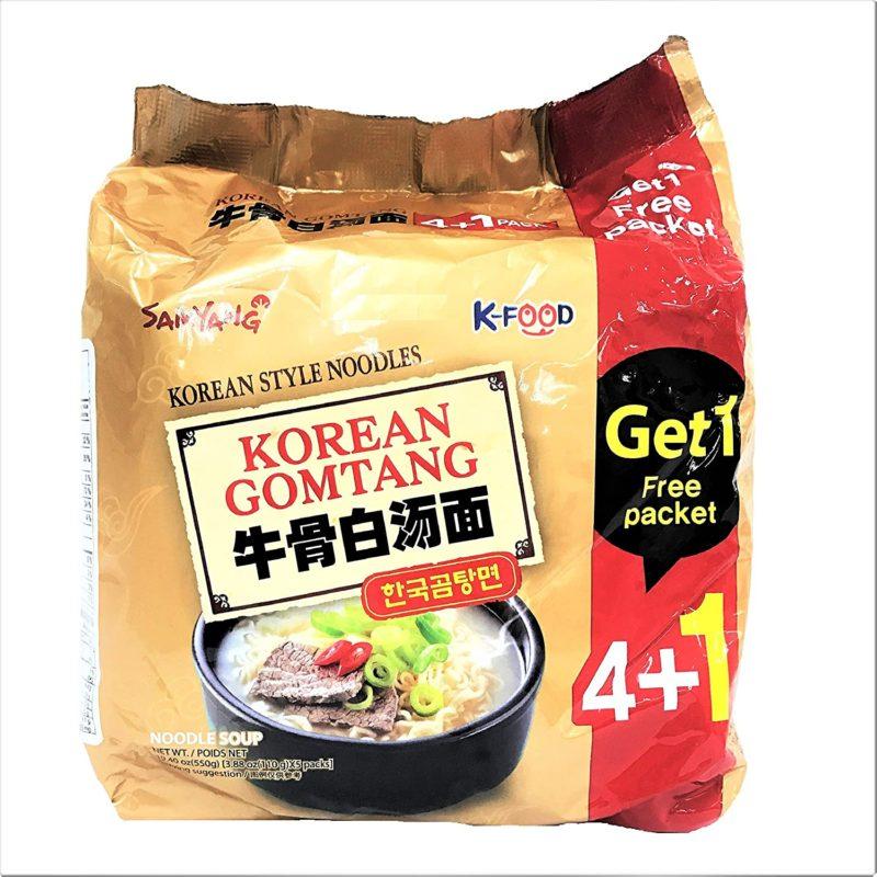 SAMYANG Korean Gomtang Noodle Soup 4Pack 1 Free Packet
