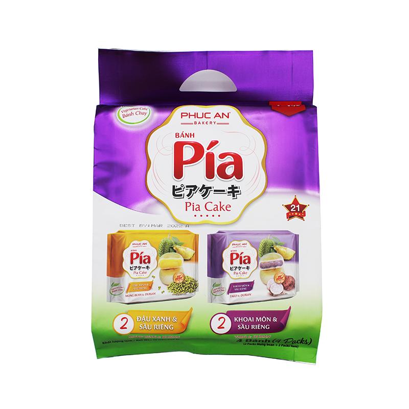 PHUC AN Pia Vegetarian Cake with Mung Bean & Durian, Taro/ Banh Pia Chay Du xanh & Sau rieng  400 Gr