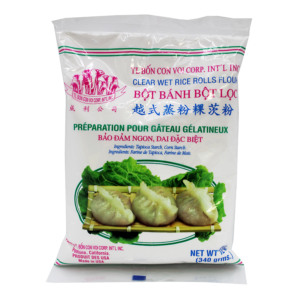 Tl Bon Con Voi Clear Wet Rice Rolls Flour Bot Banh Bot Loc 12 Oz