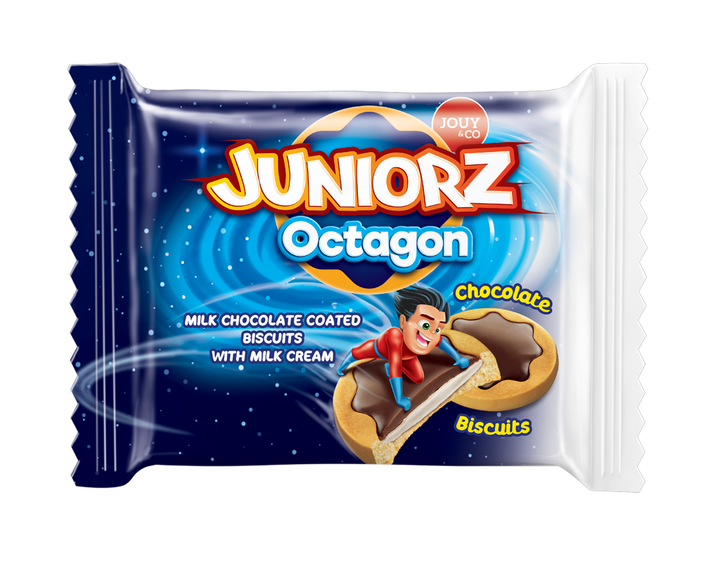 JOUY&CO Juniorz Octagon Mil Chocolate Coated Biscuits 10 OZ