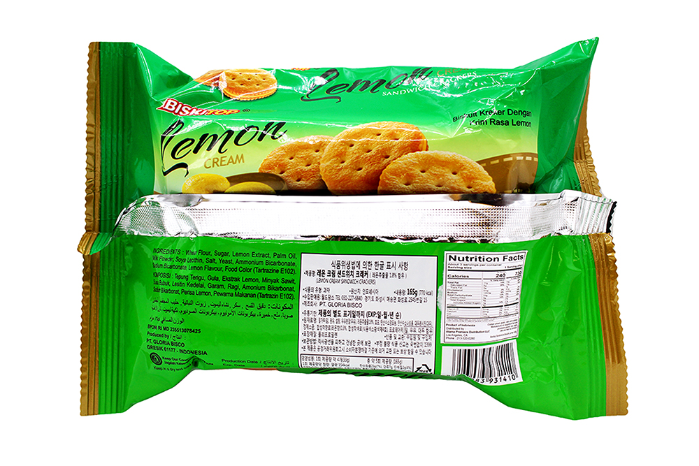 BISKITOP Lemon Cream Sandwich Crackers 165 G