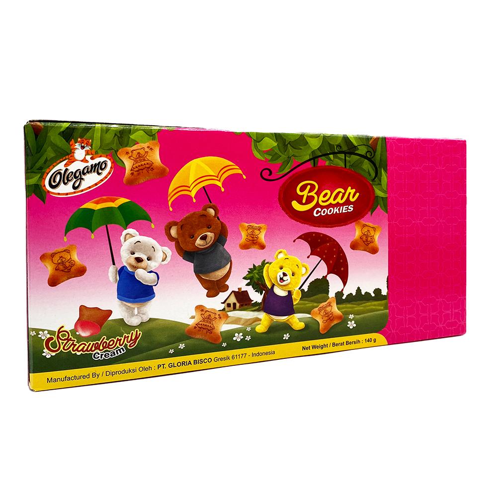 OLEGAMO Bear Strawberry Cream Cookies 140 Gr